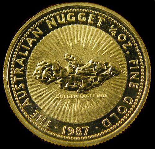 1987 Golden Eagle 1 4 Oz Nugget Gold Coin Co705