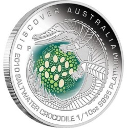 Discover Australia 2010 Saltwater Crocodile,1/10oz Platinum