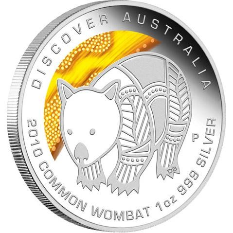 Discover  2010 Dreaming – Common Wombat 1oz Silver Coin