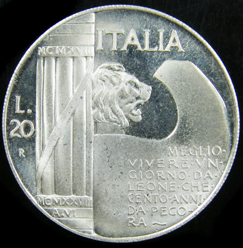 Italy 20 Lire 1928 Vittorio Emanuele III  [XF, EF] Extremely Fin