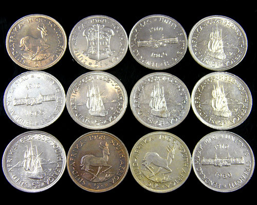 12 SILVER 500 COINS SOUTH AFRICA  ONLY .50 PER GRAM  CO 750