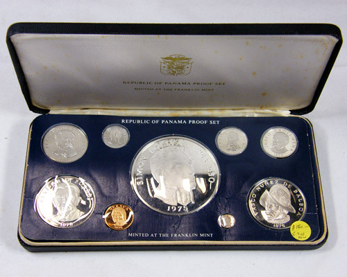 SILVER PROOF NINE COIN 1975 PANAMA SET  CO 7760