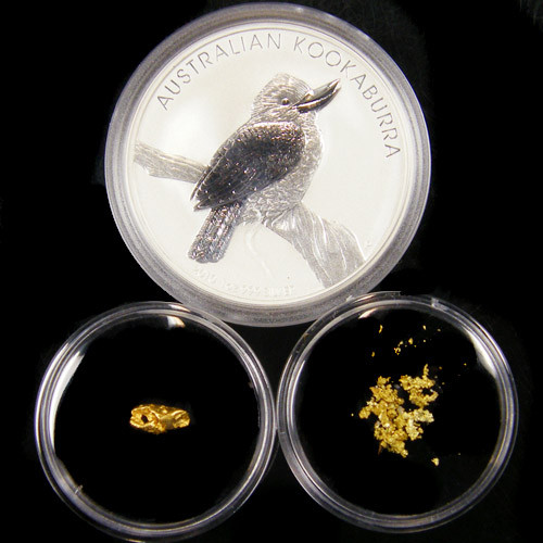 AUST TREASURE 2010 SILVER COIN GOLD NUGGET SERIES ATGS 8/200