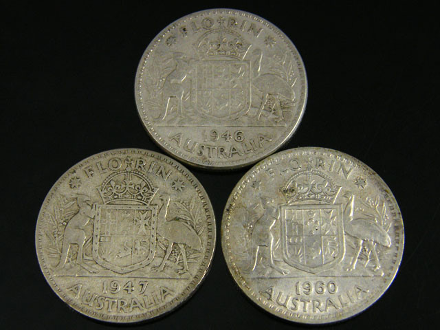 3 X F SILVER 50%   POST 1946  FLORIN CO 773