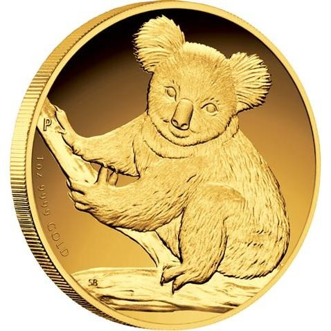 Australian Koala 2009 Gold Proof Coin 1 Oz High Relief