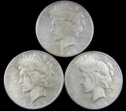 PARCEL 3 1923  PEACE DOLLAR SILVER COIN S  CO 788