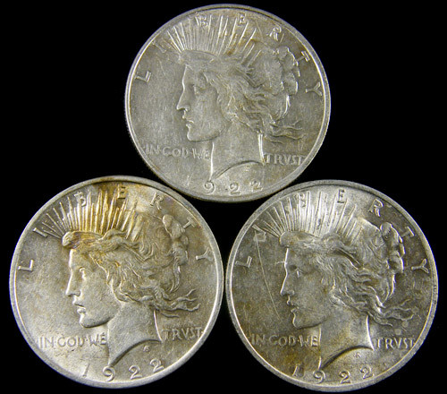 PARCEL 3 1922 PEACE DOLLAR SILVER COIN S  CO 797