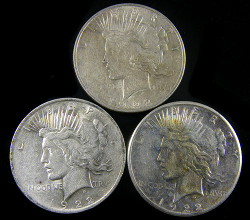 PARCEL 3 1922 PEACE DOLLAR SILVER COIN S  CO 801