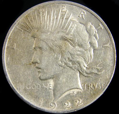 1922  PEACE DOLLAR SILVER COIN   CO 804