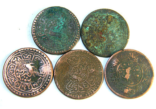 TIBET AE SHO 1920s  PARCEL 5 COINS          OP 787