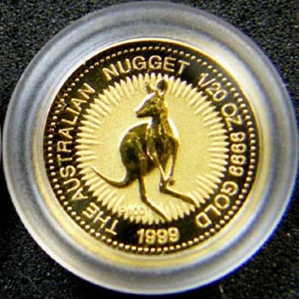 THE AUSTRALIAN NUGGET 1999  1/20 OUNCE 0.9999 PURE GOLD