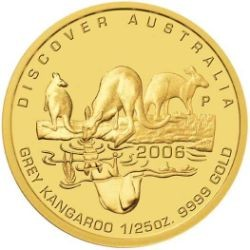Discover Australia 2006 Grey Kangaroo  1/25oz Gold coin