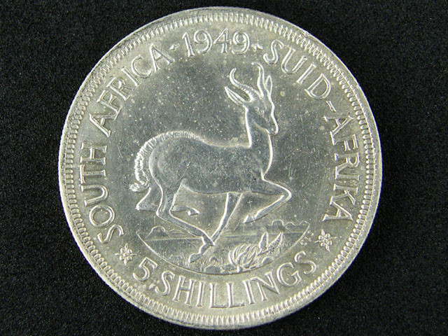 SILVER COIN SOUTH AFRICA 1949 5 SHILLINGS   OP 878
