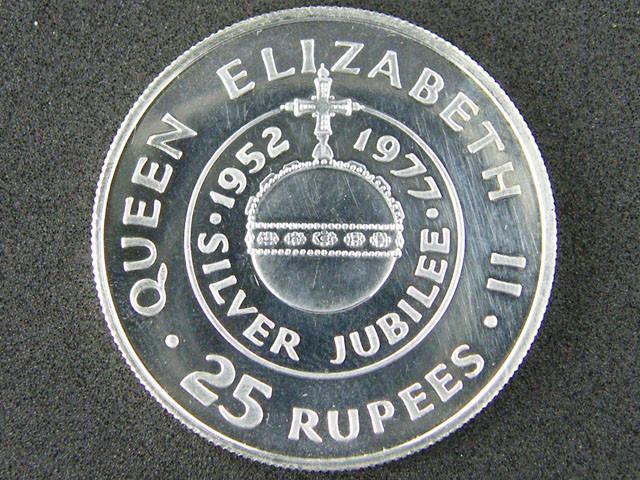 SILVER COIN SEYCHELLES  1977 JUBILEE  25 RUPLEES  OP 880