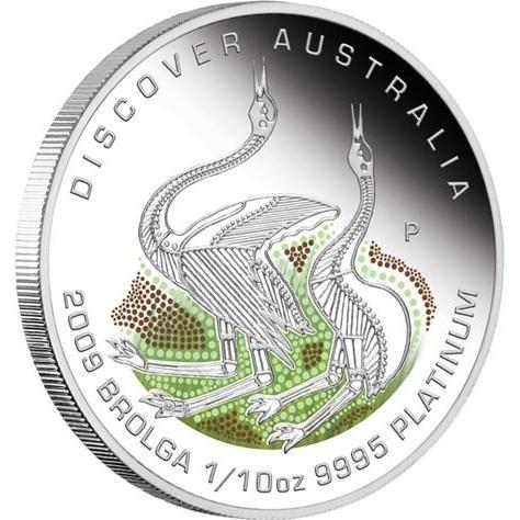 Discover Australia 2009 Dreaming  Brolga 1/10oz  PLATINUM
