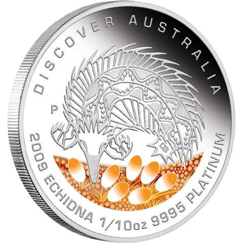 Discover Australia 2009 Dreaming   Echidna 1/10oz  PLATINUM