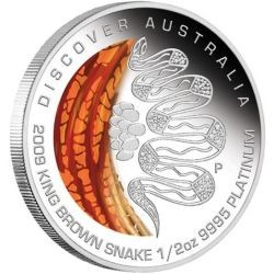 "Australia 2009 Dreaming "" King Brown Snake 1/2oz PLATINUM"