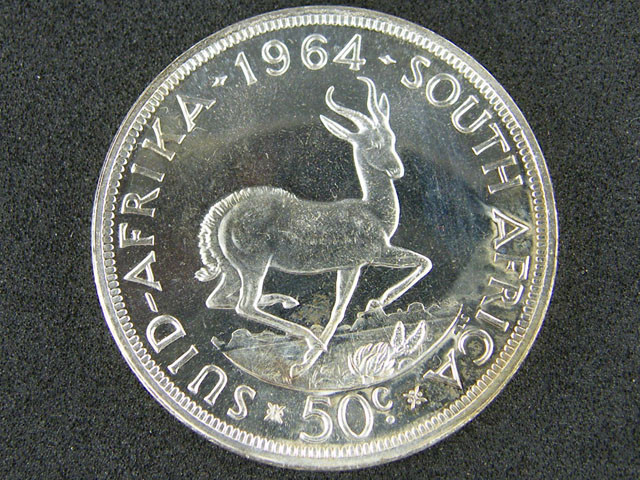 SOUTH AFRICA 1964 PROOF 50 CENTS OP 998