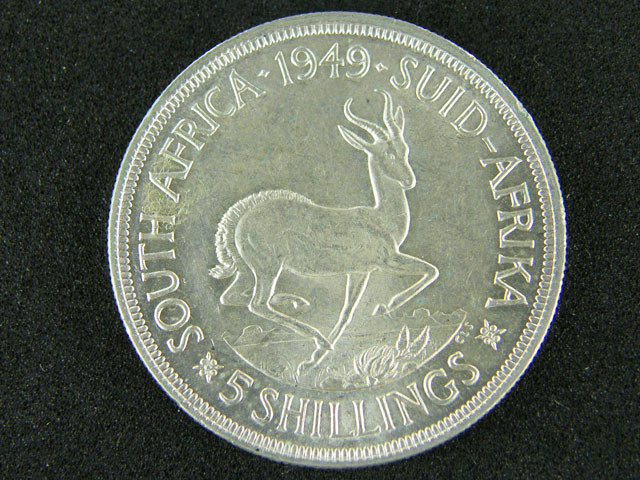 SOUTH AFRICA  1949  5 SHILLINGS  OP 1010