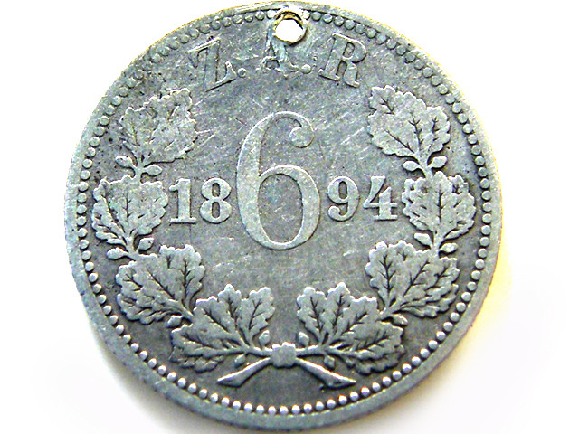 SIX PENCE SOUTH AFRICA 1894 WITH PAY HOLE OP 964