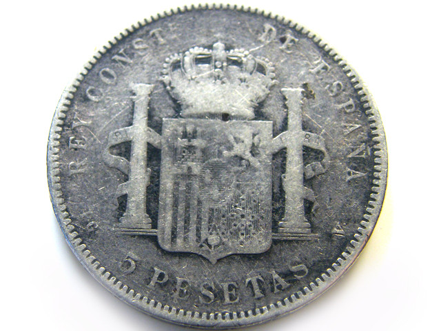 OLD SPANISH COIN 1896  5 PESTAS  OP 971