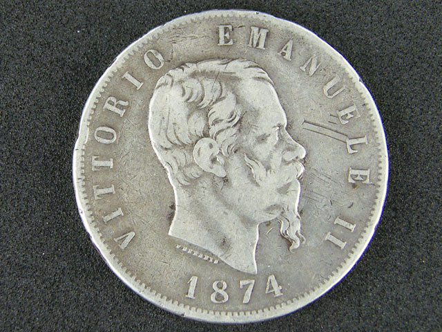 5 LIRE ITALIA 1874 VITTORIO EMANUELE   OP 974