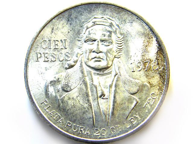 MEXICAN PESO  720 SILVER COIN 1978 OP 975