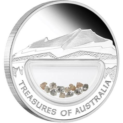 Certified Treasures of Australia Diamonds 1oz Silver  Coin