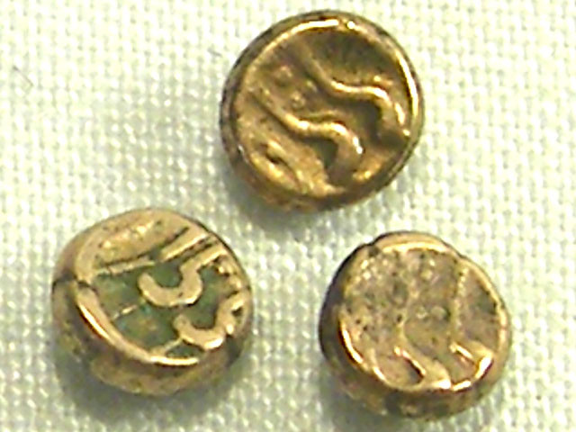 3 INDIA GOLD COIN MED PURITY FANAMS 17-18TH CENTUARY OP 1036