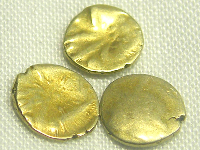 3 INDIA GOLD COIN MED  PURITY FANAMS 17-18TH CENT  OP 1099
