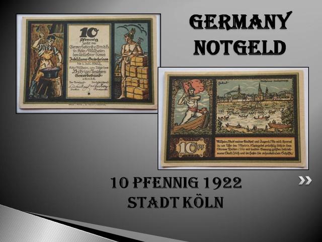 GERMANY NOTGELD 10 Pfennig 1922