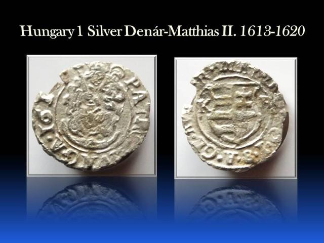 Hungary Silver 1 Denár-Matthias II. 1613 -1620 EH#870