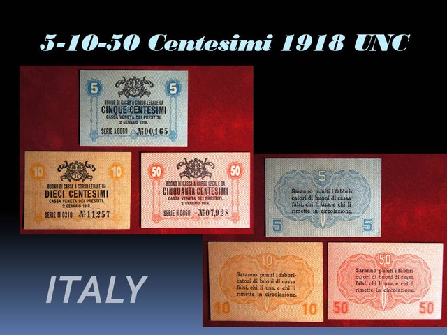 Italy 5-10-50 Centesimi 1918 UNC!!!