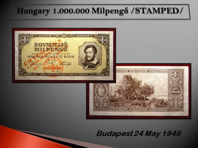 Hungary 1.000.000 Milpengo 1946 /Stamped/