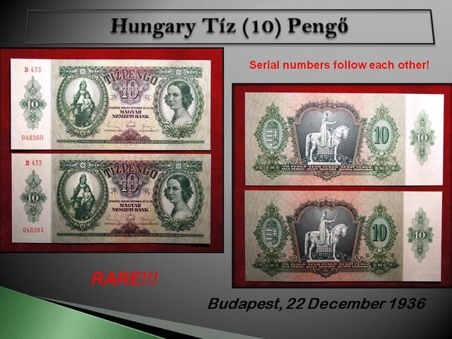 Hungary Tíz (10) Pengő 1936 (Piece:2) RARE!