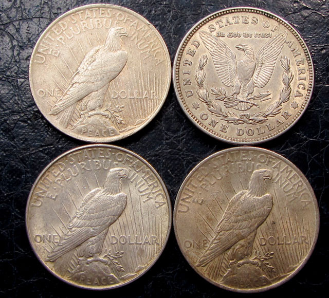 1921-23   FOUR  PEACE DOLLAR SILVER COINS   CO1610