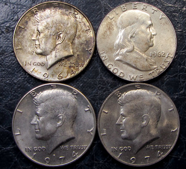 1964-74  PARCEL FOUR HALF DOLLAR KENNEDY SILVER COINS CO1641