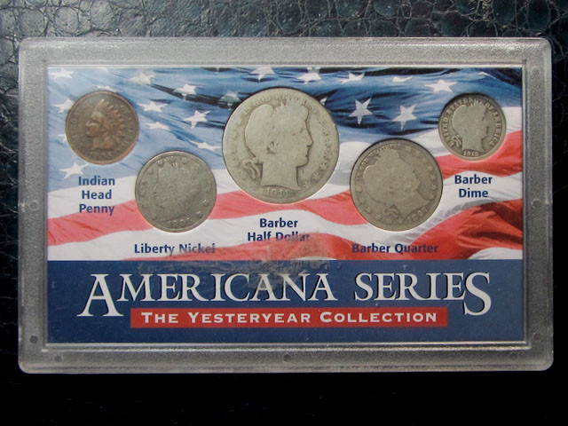 CASE FIVE BARBER COINS 1897 TO 1912 MIXED  CO1621