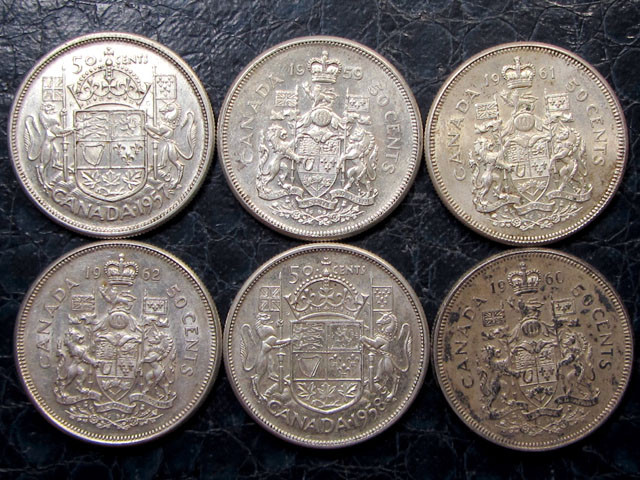 1957-62   PARCEL 6 CANADIAN .50 CENT SILVER COINS CO 1634