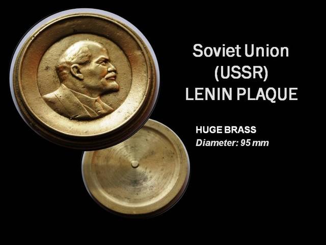 RARE Huge Brass Lenin Plaque