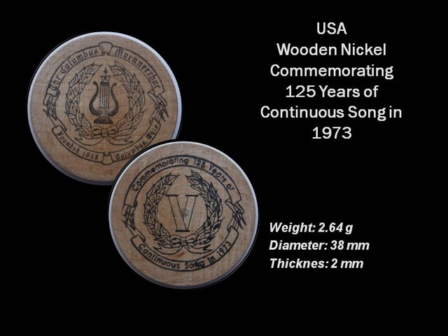 USA Wooden Nickel Commemorating 125 years coin (1973)