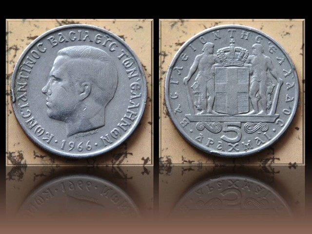 Greece 5 Drachmai 1966 KM#91