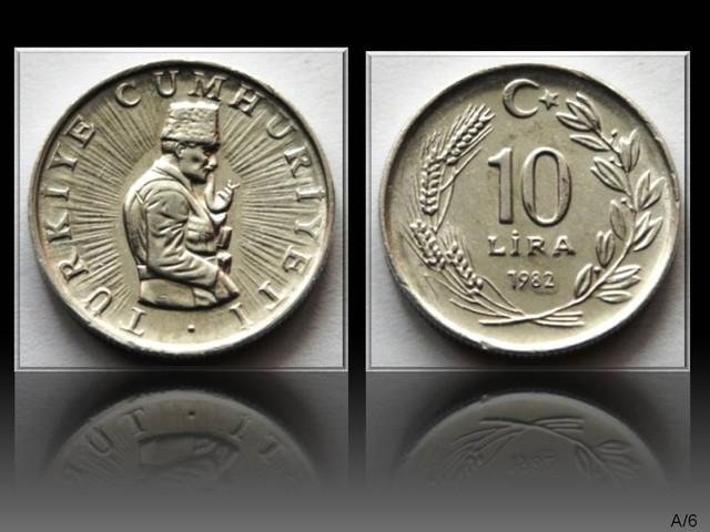 Turkey 10 Lira (crescent to right) 1982 KM#950