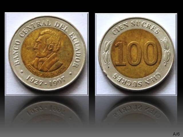 Ecuador 100 Sucres (70th Central Bank) 1997 KM#101