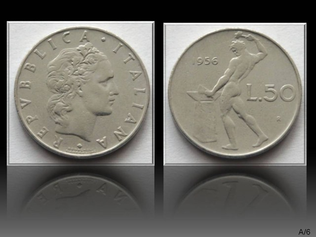 Italy 50 Lire (Large type)1956 KM#95.1