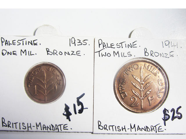 TWO BRONZE 1941-35  BRITISH MANDATE COIN J 2009