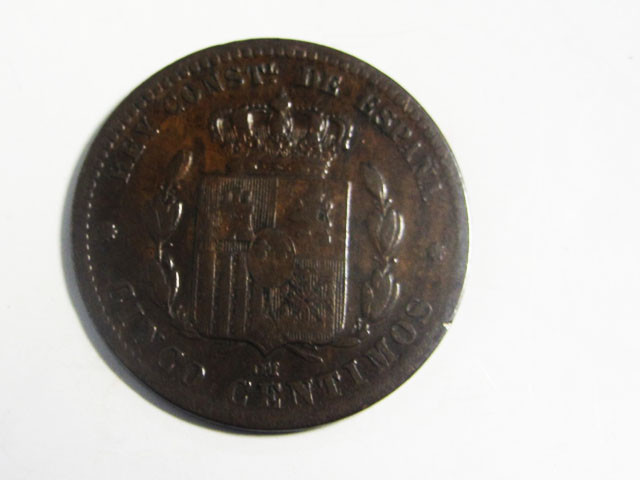 1879 5 CENTIMOS LAST ISSUE BRONZE  J2026