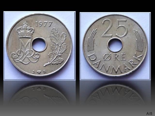 Denmark 25 Öre-Margrethe II. 1977 KM#861