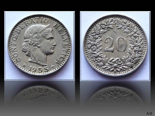 Switzerland 20 Rappen 1955 B KM#29a