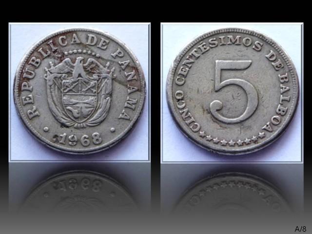 Panama 5 Centésimos 1968 KM#23